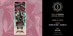 Concert poster from Pearl Jam - Colonial Life Arena, Columbia, SC, USA - 21. Apr 2016