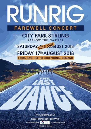 Concert poster from Runrig - Stirling Castle, Stirling, United Kingdom - 17. Aug 2018