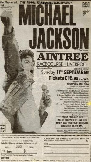 Concert poster from Michael Jackson - Aintree Racecourse, Liverpool, United Kingdom - 11. Sep 1988