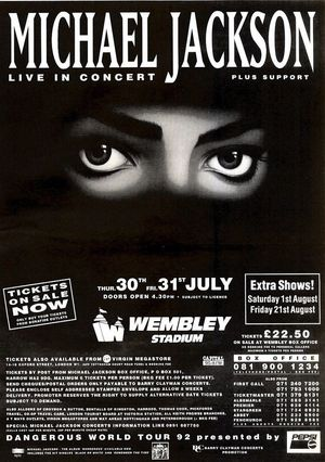 Concert poster from Michael Jackson - Wembley Stadium, London, United Kingdom - 31. Jul 1992