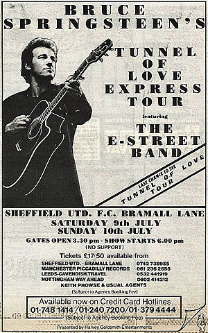Concert poster from Bruce Springsteen - Bramall Lane, Sheffield, United Kingdom - 9. Jul 1988