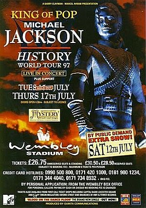Concert poster from Michael Jackson - Wembley Stadium, London, United Kingdom - 12. Jul 1997