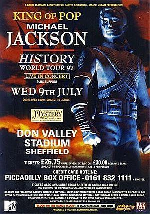 Concert poster from Michael Jackson - Don Valley Stadium, Sheffield, England - 9. Jul 1997