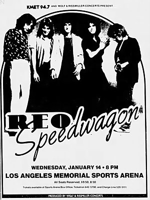 Concert poster from REO Speedwagon - Los Angeles Sports Arena, Los Angeles, CA, USA - 14. Jan 1981