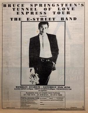 Concert poster from Bruce Springsteen - Wembley Stadium, London, United Kingdom - 25. Jun 1988