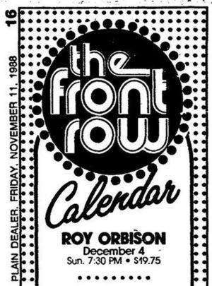 Concert poster from Roy Orbison - Front Row Theatre, Highland Heights,, OH, USA - 4. Dec 1988
