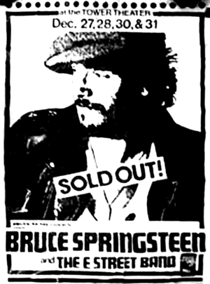Concert poster from Bruce Springsteen - Tower Theatre, Upper Darby, PA, USA - 28. Dec 1975