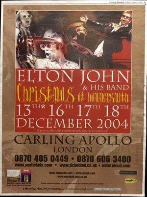 Concert poster from Elton John - Carling Apollo Hammersmith, London, England - 16. Dec 2004