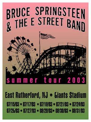 Concert poster from Bruce Springsteen - Giants Stadium, East Rutherford, NJ, USA - 21. Jul 2003
