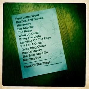 Setlist photo from Beady Eye - Barrowland Ballroom, Glasgow, United Kingdom - 3. Mar 2011
