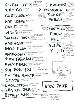 Setlist photo from Pearl Jam - Hyde Park, London, England - 25. Jun 2010